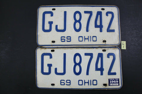Vintage 1969 OHIO License Plate GJ-8742 PAIR 1969 Local Tax Sticker L1