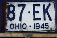 1945 Vintage Original OHIO License Plate 87-EK