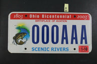 2003 OHIO SAMPLE License Plate 000AAA Bicentennial Scenic River 2010 Sticker A32