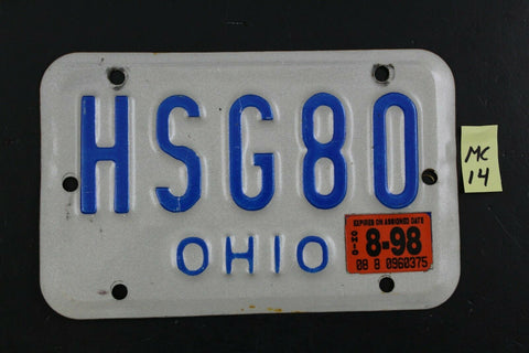 Vintage OHIO MOTORCYCLE License Plate HSG80 1998 Sticker (MC14