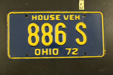 Vintage 1972 OHIO House Vehicle License Plate 886-S (A52