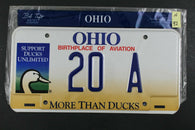 1998 OHIO License Plate 20-A Support Ducks Unlimited (N-92