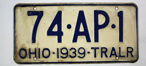 Vintage 1939 Original OHIO Trailer License Plate 74-AP-1