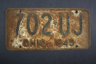 1945 Vintage Original Ohio License Plate 702-UJ