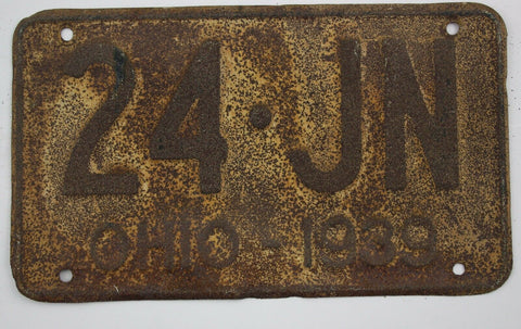 1939 Vintage Original OHIO License Plate Tag 24-JN