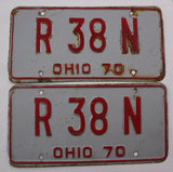 1970 Vintage Original OHIO License Plate PAIR R-38-N