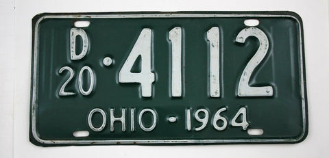 Vintage 1964 Original OHIO Dealer License Plate 20-4112