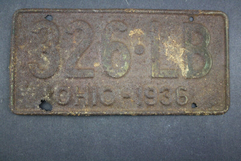 1936 Vintage Original Ohio License Plate 326-LB