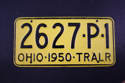 1950 Vintage Original OHIO License Plate 2627-P-1 TRAILER