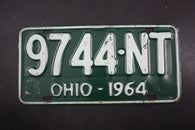 1964 Vintage Original OHIO License Plate 9744-NT