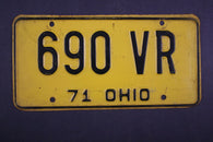 1971 Vintage Original Ohio License Plate 690-VR