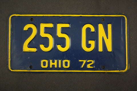 1972 Vintage Original Ohio License Plate 255-GN