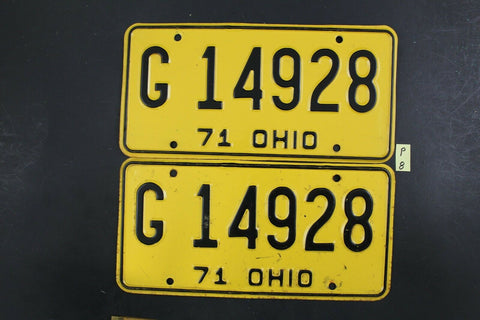 Vintage 1971 OHIO License Plate G-14928 PAIR (P-8 – Cin City Collectibles