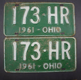 1961 Vintage Original Ohio License Plate 173-HR PAIR