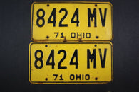 1971 Vintage Original Ohio License Plate 8424-MV PAIR