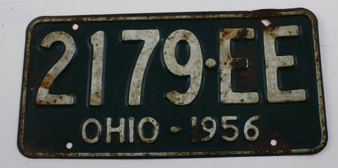 1956 Original Vintage Ohio License Plate 2179EE