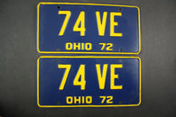 1972 Vintage Original Ohio License Plate 74-VE PAIR