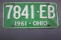 1961 Vintage Original Ohio License Plate 7841-EB