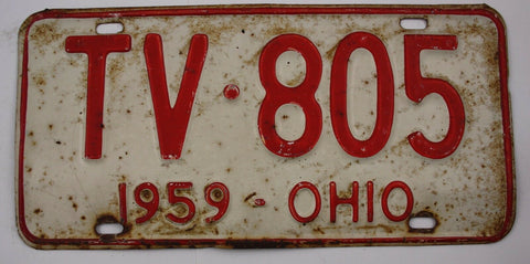 1959 Vintage Original OHIO License Plate TV-805