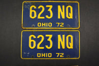 1972 Vintage Original Ohio License Plate 623-NQ PAIR