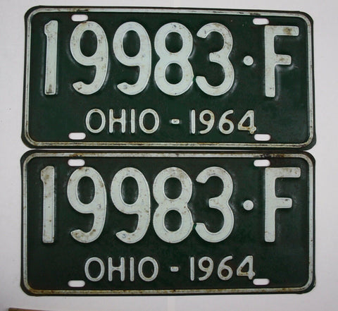 1964 Vintage Original Ohio License Plate 19983-F PAIR