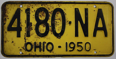 1950 Vintage Original OHIO License Plate Tag 4180-NA