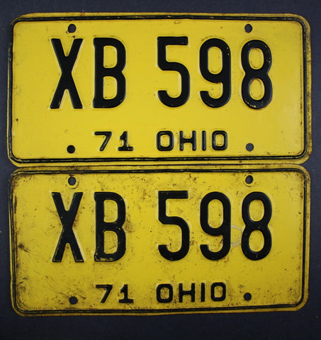 1971 Vintage Original Ohio License Plate XB-598 PAIR