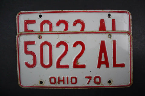 1970 Vintage OHIO LICENSE PLATE SET PAIR 5022-AL