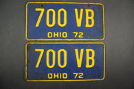 1972 Vintage Original Ohio License Plate 700-VB PAIR