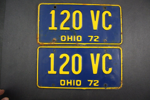 1972 Vintage Original Ohio License Plate 120-VC PAIR