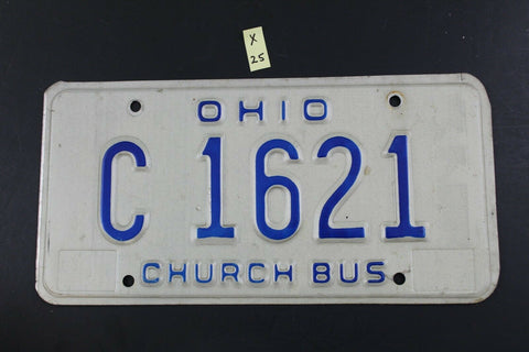 Vintage 1980 OHIO CHURCH BUS License Plate C-1621  (X25)