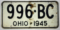 Vintage 1945 Original OHIO License Plate 996-BC