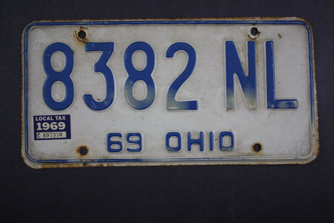 1969 Vintage Original Ohio License Plate 8382-NL