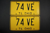 1971 Vintage Original Ohio License Plate 74-VE PAIR