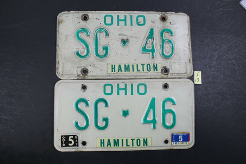 1990 Original Vintage Ohio License Plate NJ 8 A PAIR NON COMMERCIAL S14