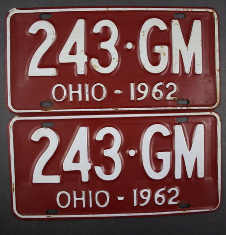1962 Vintage Original Ohio License Plate 243-GM PAIR