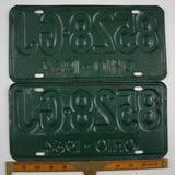1964 Vintage Original Ohio License Plate 8528-GJ PAIR