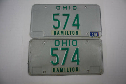 Vintage 1985 Base w/ 1991 Sticker Original OHIO 3 Digit License Plate
