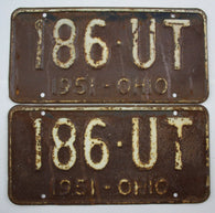 1951 Vintage Original OHIO License Plate Tag 186-UT - PAIR