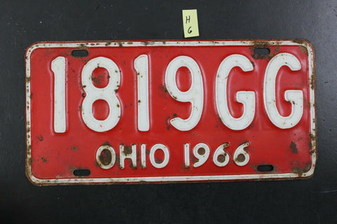 Vintage 1966 OHIO License Plate 1819-GG (H6