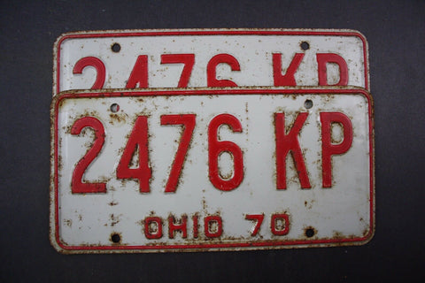 1970 Vintage Original Ohio License Plate 2476-KP PAIR