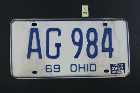 Vintage 1969 OHIO License Plate AG-984 w 1969 LOCAL TAX STICKER K40