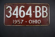 1957 Original Vintage Ohio License Plate 3464-BB