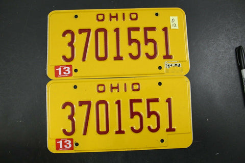 Vintage 1993 OHIO OVI DUI License Plate 3701551 PAIR Family Plate D12
