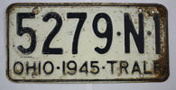 Vintage 1945 Original OHIO Trailer License Plate 5279-N-1 OHIO-1945-TRALR
