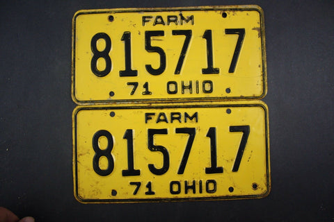 1971 Vintage Original Ohio License Plate 815717 FARM PAIR