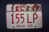 1968 Vintage Original Ohio License Plate 155-LP PAIR