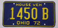 1972 Vintage Original OHIO License Plate 1450 B HOUSE VEHICLE