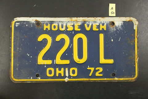 Vintage 1972 OHIO House Vehicle License Plate 220-L (A50