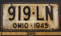 1945 Vintage Original OHIO License Plate Tag  919-LN